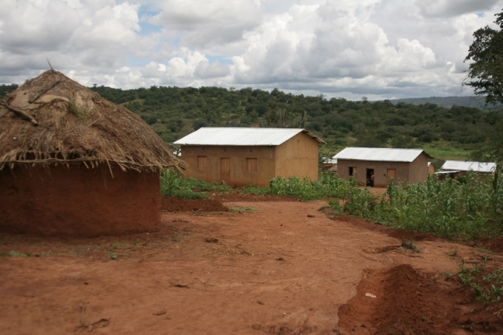 New and Old homes in refugees camp at Kajeyo, Rwanda which we visited